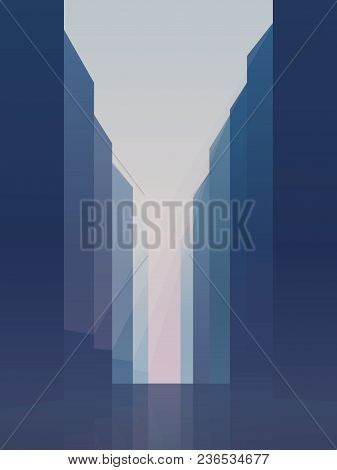 City Street With High Rise Skyscrapers Vector Background. Symbol Of Corporate Downtown, Commercial D