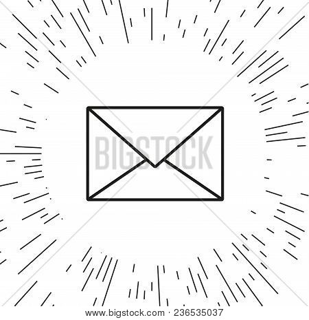 Vector Icon Envelope Against The Background Of The Rays