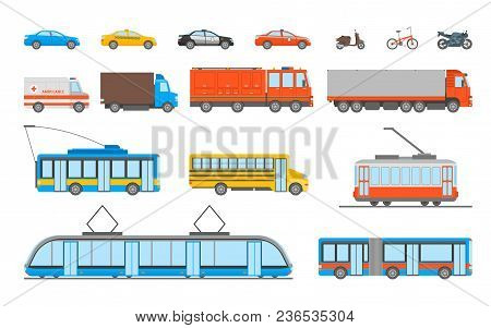 Cartoon Urban Transport Icons Set Ambulance, Police Car And Bus Elements Public Transportation Conce