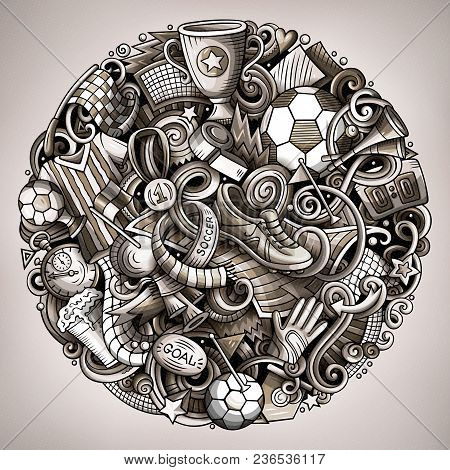 Cartoon Vector Doodles Football Illustration. Monochrome, Detailed, With Lots Of Objects Background.
