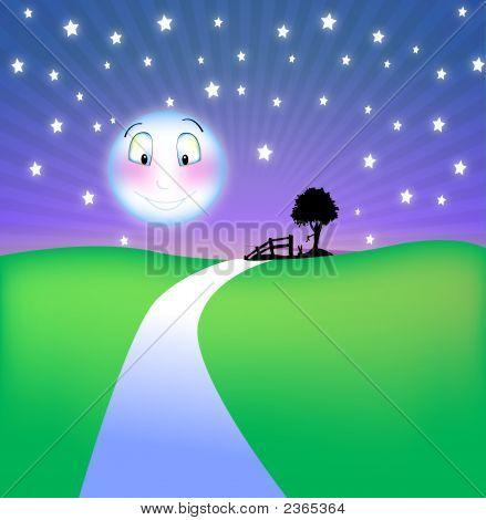 Cool Night Smiling Moon