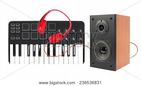 Music And Sound - Line Array Loudspeaker Enclosure Cabinet, Midi Keyboard And Red Headphone Isolated
