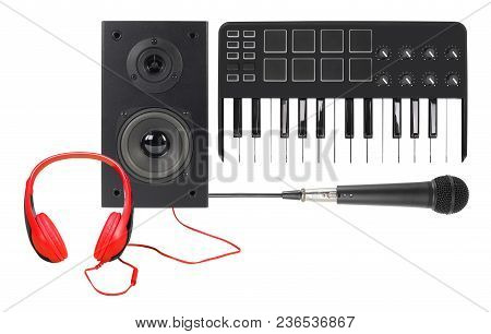 Music And Sound - Front View Line Array Loudspeaker Enclosure Cabinet, Microphone, Midi Keyboard And