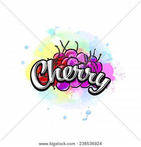 Cherry Colorful Label Sign. Vector Drawing For Advertising. Fresh Design Of Colorful Fruits Made In