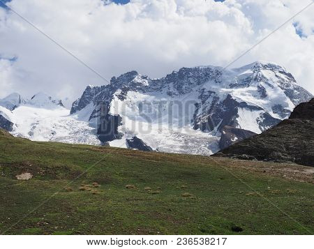 View Of Monte Rosa Massif, Landscapes Of Alpine Mountains Range In Swiss Alps At Switzerland, From G