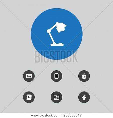 Set Of 7 Office Icons Set. Collection Of Telephone, Wastebasket, Flowerpot And Other Elements.