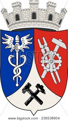 Coat Of Arms Of Oberhausen Is A City On The River Emscher In The Ruhr Area, Germany. Vector Illustra