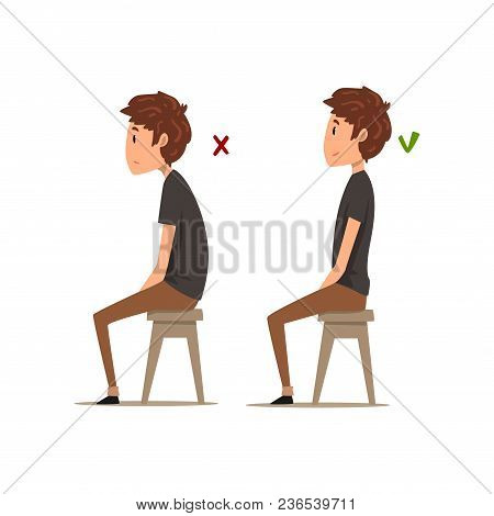 Correct And Worst Positions For Sitting, Boy Sitting On The Chair, Sitting Posture Vector Illustrati