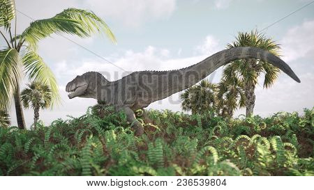 3d render of the running tyrannosaurus