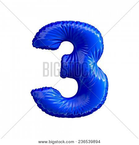Number 3 (three) of blue balloons on a white background. 3d rendering