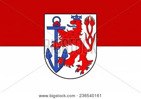 Flag Of Duesseldorf Is The Capital City Of North Rhine-westphalia In Germany. Vector Illustration