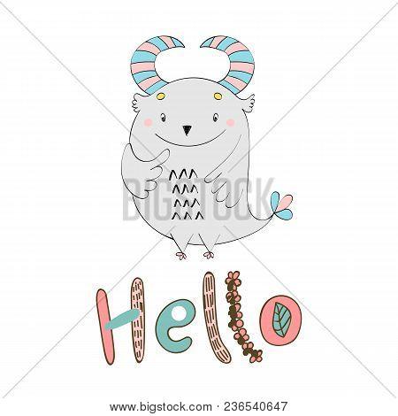 Vector Card With Cute Cartoon Monster. Hello.