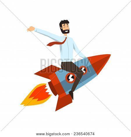 Successful Businessman On A Rocket, Start Up Business Project Concept, Development Process Vector Il
