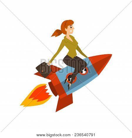 Businesswoman On A Rocket, Successful Start Up Business Project, Development Process Vector Illustra