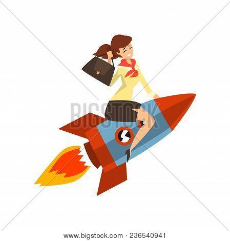 Smiling Successful Businesswoman On A Rocket, Start Up Business Concept, Development Process Vector