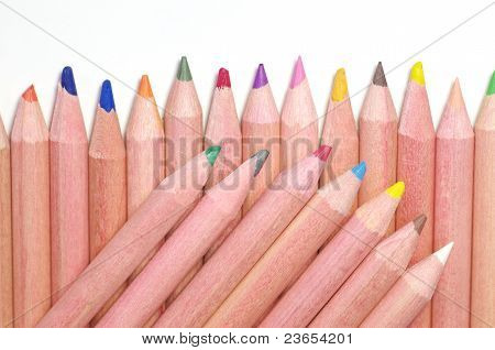 the points of colored pencils