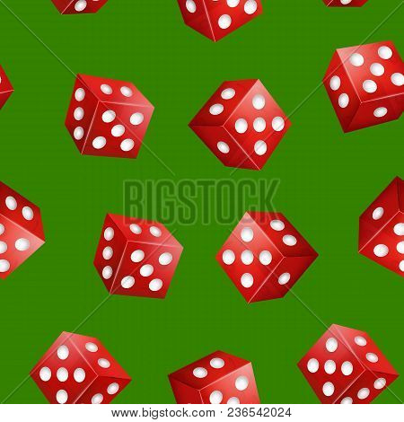 Realistic 3d Two Red Casino Dice With Dot Seamless Pattern Background Symbol Of Gambling Game, Fortu
