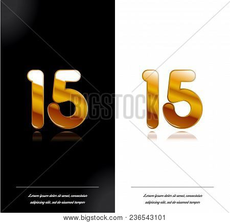 15 - Year Anniversary Black And White Cards Tamplate. Vector Illustration.