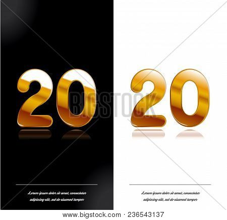 20 - Year Anniversary Black And White Cards Tamplate. Vector Illustration.