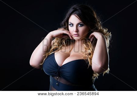 Plus Size Sexy Fashion Model In Lingerie, Fat Woman With Big Natural Breast On Black Studio Backgrou