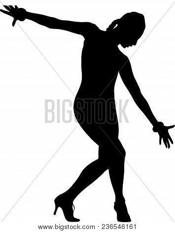 Female Dancer In Dance Pose With Bracelets On Hands
