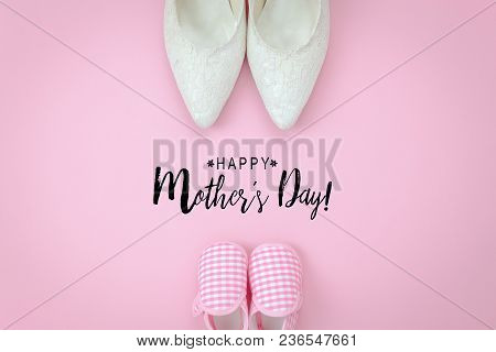 Top View Aerial Image Of Decorations Happy Mothers Day Holiday Background Concept.flat Lay Object Wo