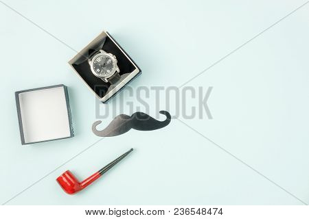 Table Top View Happy Fathers Day Holiday Background Concept.flat Lay Watch Gift For Dad With Accesso