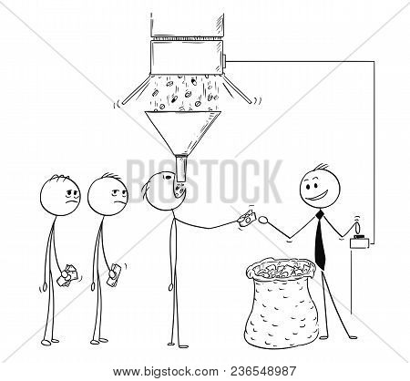 Cartoon Stick Man Drawing Conceptual Illustration Of Pharmaceutic Business Metaphor. Businessman Is