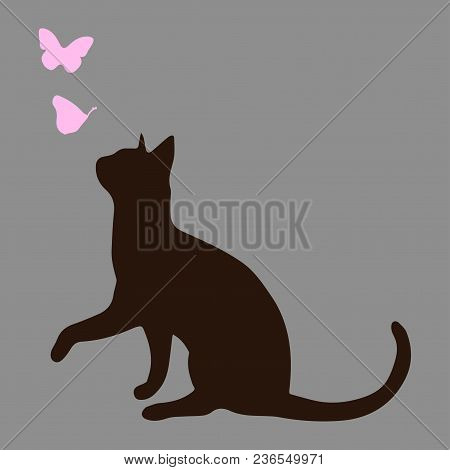 Silhouette Of A Cat With Pink Butterflies. A Cute Vector Illustration On A Gray Background.