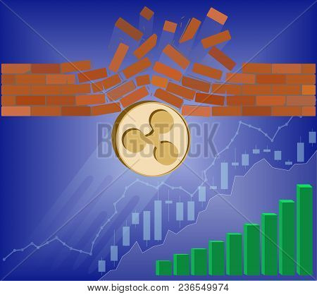 Ripple Coin Breaks Through The Wall Resistance With Growth Chart On A Blue Background , The Price Of