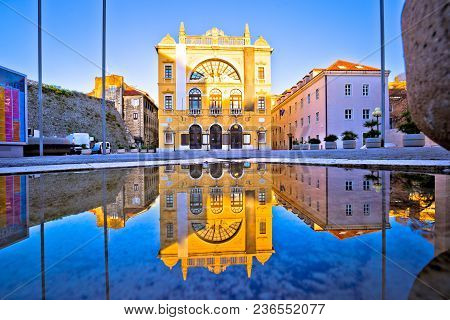 Croatian national theatre of Split water reflection view, Dalmatia region of Croatia poster