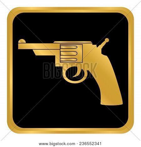 Revolver Button On White Background. Vector Illustration.