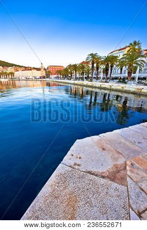 Split Waterfront Vertical Morning View, Dalmatia Region Of Croatia
