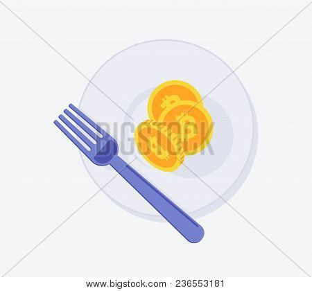 Bitcoin Fork Icon. Vector Illustration Style Is A Flat Iconic Bitcoin Fork Symbol With Plate. Design