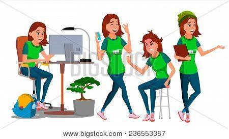 Young Business Woman Character Vector. Environment Process. Lady In Various Poses. Creative Studio.