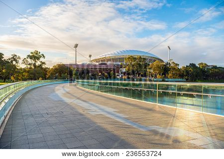 Adelaide, Australia - August 27, 2017: Iconic River Torrens Footbridge To Adelaide Oval Viewed Acros