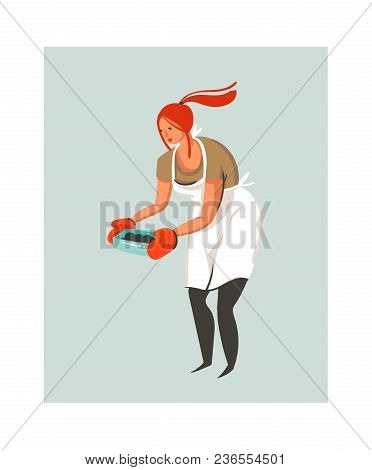 Hand Drawn Vector Abstract Modern Cartoon Cooking Time Illustrations Icon With Cooking Chef Woman In