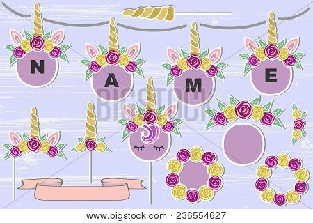 Vector Set With Unicorn Tiara, Unicorn Horn, Flower Frame. Unicorn Symbols As Patch, Stick Cake Topp