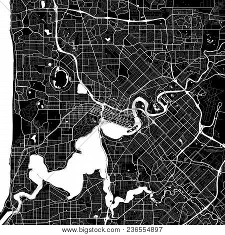 Area Map Of Perth, Australia. Dark Background Version For Infographic And Marketing Projects. This M