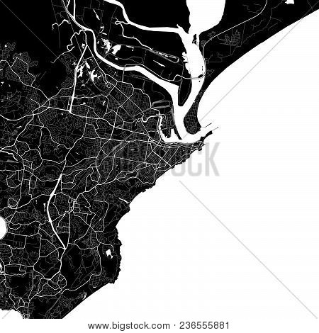 Area Map Of Newcastle, Australia. Dark Background Version For Infographic And Marketing Projects. Th