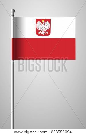 Flag Of Poland With Eagle. National Flag On Flagpole. Isolated Illustration On Gray