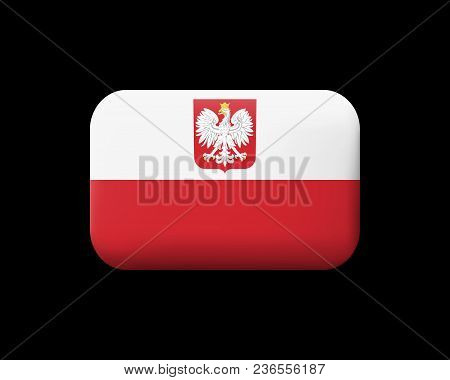 Flag Of Poland With Eagle. Matted Vector Icon And Button. Rectangular Shape
