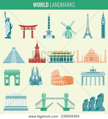 Famous World Landmarks. Travel And Tourism Concept. Vector Illustration