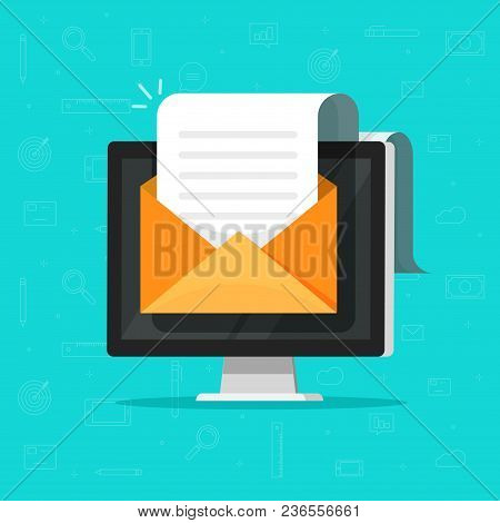 Electronic Document Email On Computer Vector Illustration, Flat Cartoon Long Big Paper Doc On E-mail