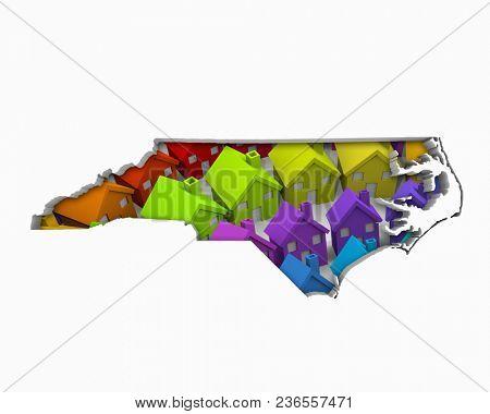 North Carolina NC Homes Homes Map New Real Estate Development 3d Illustration