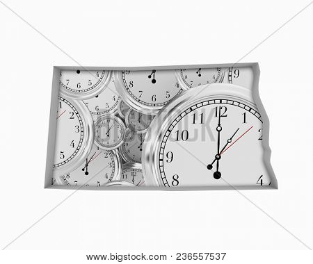 North Dakota ND Clock Time Passing Forward Future 3d Illustration