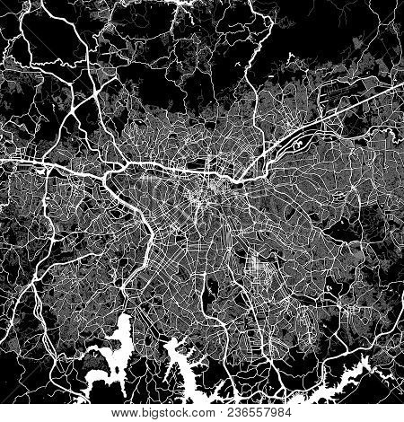Area Map Of São Paulo, Brazil. Dark Background Version For Infographic And Marketing Projects. This