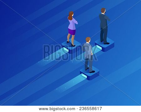 Isometric Business Leader And Teamwork. Business Persons Balancing On The Flying Modern Platform . S