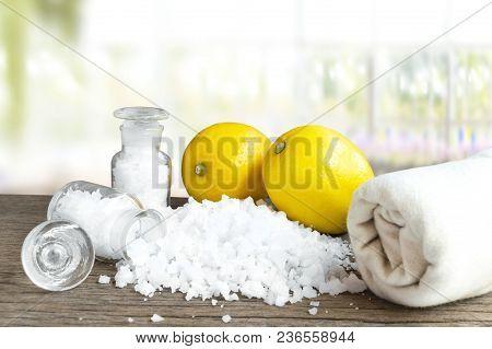 Lemon And Sea Salt - Beauty Treatment With Organic Cosmetics With Lemon Ingredients On Wood Backgrou