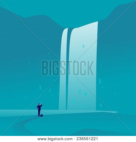 Vector Business Concept Illustration With Businessman Standing & Watching At Big Great Waterfall Wit